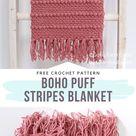 How to Crochet Boho Puff Stripes Blanket