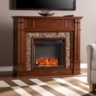 Southern Enterprises FE9321 Highgate Faux Stone Electric Media Fireplace in Whickey Maple Brown Premium Shipping Options, Mission | Bellacor