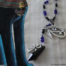Gothic Eye of Horus with silver Ankh and beads rosary necklace