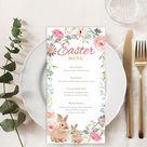 SELF-edited Easter Food Menu Template, Watercolor Bunny Rabbit  Dinner Lunch Wedding Menu Card