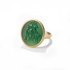 Three Graces Carved Green Chalcedony Signet Ring   7.25