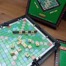 Vintage DUTCH Travel Scrabble set, push-in tiles in hard plastic folding case complete game by Spear's Games. Handy travel word board game