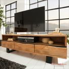 Massives TV Board MAMMUT 160cm Akazie Metall Baumkante Lowboard