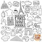 PARIS France, Europe Travel, Friends and Family Trip Holidays, Honey Moon Summer Doodle Icons Clipart Scrapbook Coloring Line Art Sketch.