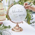Wedding Guest Book Globe Adventure Begins Here