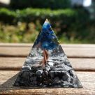 Tree of Life Orgonite Crystal Pyramid Kyanite With Snowflake Obsidian Cristal Quartz Energy Healing
