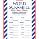 Instant Download Blue Nautical Baby Shower Word Scramble, Sailor Baby Word Scramble, Blue Red Anchor Theme, Nautical Baby Shower Game 26A