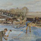 Fritz Syberg, 1927 - Farmhands fetching Ice - fine art print - Canvas print / 30x20cm - 12x8