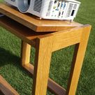 Outdoor projector stand in white oak.