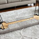 How to make a diy bench ottoman out of a rug and hairpin legs