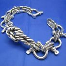 Very Wide and Large Unique Sterling Silver 20mm Nautical Beach Shackle Bracelet with a Fisherman Sailor's Rope Knot and Camouflaged Latch