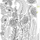 Black-and-white Wildflowers Isolated On White. Abstract Doodle Background Made Of Flowers And Butterfly. Vector Coloring Page Stock Vector - Illustration of cups, garden: 85330413
