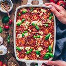 Vegane Lasagne mit Linsen und Zucchini