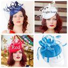 The Madelyn Fascinator, light ivory Fascinator with Veil, Women's Tea Party Hat, Church Hat, Derby Hat, Fancy Hat, wedding hat, British Hat - navy blue