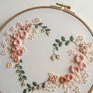Floral Heart Embroidery Hoop Art. Flower Embroidery Hoop. Roses Hand Embroidery. Modern Embroidery.