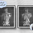 Skeleton Chalkboard Art Human Muscular System Watercolor Anatomy Decor Medicine Art Clinic Art Ortho