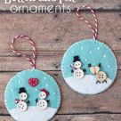 Button and Felt DIY Christmas Ornaments - Cutesy Crafts