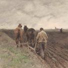 Anton Mauve, 1848   Plowing farmer   fine art print   Canvas print / 160x120cm   63x47