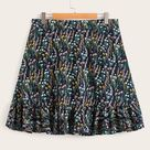 Plus Ditsy Floral Ruffle Hem Skirt - 4XL