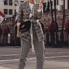 Outfit: Glencheck Blazer, Slogan Gürtel & Balenciaga Ceinture Cut Out Boots