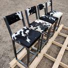 Bar stool cowhide topped BESPOKE/ CUSTOM-MADE, counter top, breakfast bar, rustic,  farmhouse, industrial
