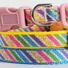 Small Easter Dog Collar and (optional) Leash - Puppy Collar - Dog Collar with Pastel Stripes - Teacup Yorkie, Toy Poodle & other Tiny Breeds