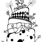 cool birthday cake drawing