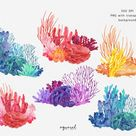 CORAL REEF | watercolor clip art, colorful corals, borders and frames, frame corners, Ocean Clipart, Anemone, Sea life clipart, PNG