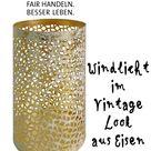 Windlicht, weiß mit goldfarben, Vintagelook, Eisen, H13,5/D8