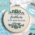 Psalm 91 Christian Bible Verse Intermediate Hand Embroidery PDF Pattern Instant Download