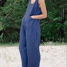 Cotton And Linen Pocket Casual Loose Jumpsuit - Blue / xl