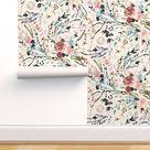 Romantic Floral Wallpaper - Fable Floral (blush) by nouveau_bohemian - Woven Look Watercolor Blooms