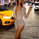 Solid color slim deep V-neck solid color tassel mini evening dress