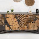 Massives Sideboard TROPICAL 175cm Mangoholz Florales Design Anrichte Kommode Wohnzimmerschrank