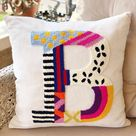 Punch Needle/Pillow Letter/White Decorative Ornament Comfort Throw Pillow/Embroidery Sofa Pillow