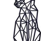 Geometrische kat - Chat Géométrique --- Muurdecoratie Living Keuken Woonkamer Hout Zwart Wand Kader Muur Interieur Bureau Art Abstract Animal Dier Ka