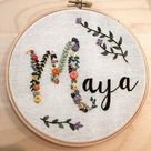 Hand embroidered Name hoop custom by order/custom embroidery/name embroidery/birth embroidery/birth gift/custom name/custom git/wedding gift