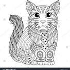 Tekening zentangle kat voor kleurpagina, shirt stockvector (rechtenvrij) 375300103