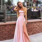Pink Off the Shoulder Satin Prom Dress, Sweetheart Split Prom Dresses, Wedding Party Dresses, Evening Party Gowns, 372