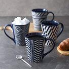 ZWISSLIV Coffee Mugs Set Tall 17 Ounces, Coffee Mugs Large, Ceramic Mugs w/ Embossed Nordic Style, Tall Coffee Mugs w/ Handle in Blue | Wayfair