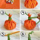 Easy Tissue Paper Pumpkin Goody Bags