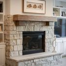 Fireplace Surround from Custom Blend of Fond du Lac Stone Veneer