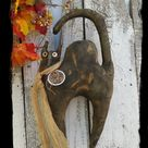 Scaredy Cat Door Hanger, Primitive Halloween Decoration, Wall Hanging, Black Cat Folk Art Ornament