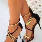 Gold And Black Heels