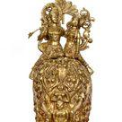 Brass elephant with raddha krishna