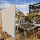 Brise Vue Rétractable 300x 180CM en Aluminium Store Latéral pour Balcon Terrasse Jardin Bureau Tissu en Polyester Beige - Costway