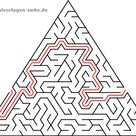 Labyrinthe / Irrgarten für Kinder Dreiecke - Kostenlose Ausmalbilder