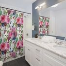 Boho, Floral Shower Curtains, Maroon Fuchsia Pink, Navy Blue, Floral Botanical, Fancy in Watercolor,