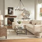 This country-style living room space features white furniture and accents. |  Lamps Plus