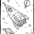 raket in de ruimte - kiddikleurplaten - kiddikleurprenten